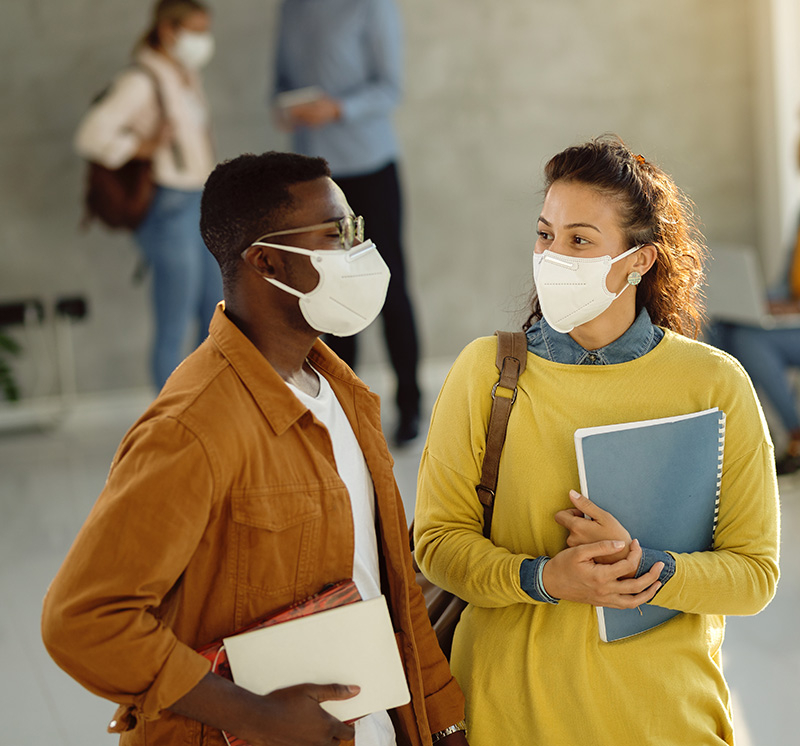 Two students with masks